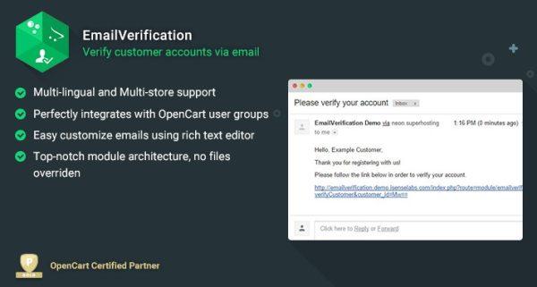 Módulo Opencart Email Verification Verificador de Email