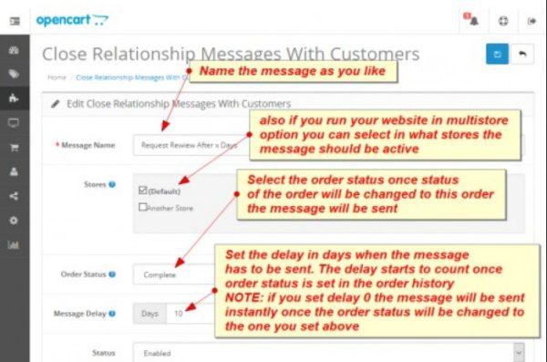 Módulo Opencart Mensagens automatizadas de atendimento ao cliente
