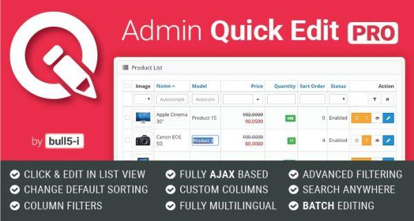 Módulo Opencart Quick Admin Pro