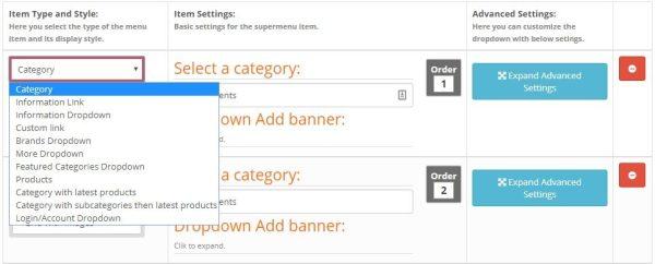 Módulo Opencart mega menu super