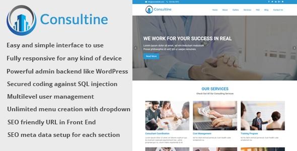 Site administrável para empresa de Consultoria, Negócios e Finanças - CMS